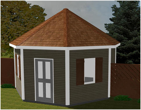 Octagonal Shed Plans - Use this unusual all-purpose building as your shed, backyard office, studio, cabana or guest cottage.