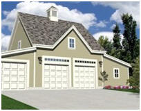 Coach House Style Three-Car Garage with Workshop
