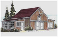 Combination Barn, Garage and Greenhouse Plans