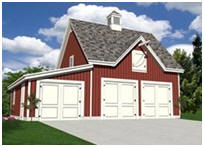 Three-Car Barn Style Carriage House Plans