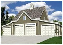 Four-Car Detached Garage - Coach House Style