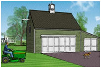 Pole-Frame Country Garage Plans