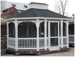 Custom Gazebo Kits - Have a beautiful oval or octagonal gazebo kit custom built for you and shipped right to your yard by AlansFactoryOutlet.com