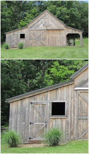 This new barn was sided with weathered boards to make it look like it had been on it's site forever. It is a combination workshop, garage and picnic porch. You can find plans, with the options and layout you need, at BackroadHome.net