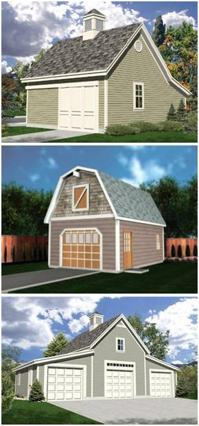 Download Dozens of Different Garage Plans - Get plans for one, two, three and four-car detached garages, garages with lofts abd workshops and big country-style car barns.